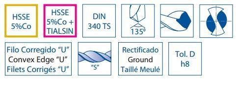 1016 Izar 12908 Broca Mango Cil/índrico Materiales Duros DIN 338 N 6.50 mm Di/ámetro Corte Serie Corta HSSE 5/%Co TIALSIN